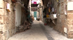 The streets of the old city of Acre. Stock Footage