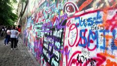 John Lennon wall in Prague Stock Footage