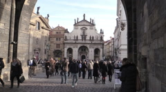 The center of the city of Prague: people walking in the city center Stock Footage