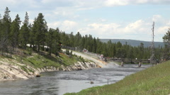 Stock Video Footage of Bridge tourism over Firehole River Yellowstone 4K