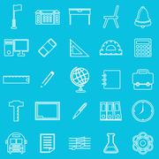 School line icons on blue background Piirros