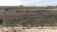 The cemetery in the old town. Kidron Valley. - stock footage