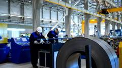 People at work in the Joint venture enterprise Severstal-SSC-Vsevolozsk Stock Footage