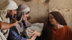 Joseph and Marry Show Off Baby Jesus, Biblical Reenactment - stock footage