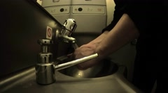 Plane, train toilet hand wash in dark atmosphere. UHD 4K stock footage Stock Footage