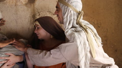 Joseph and Marry Show Off Baby of Jesus, Biblical Reenactment - stock footage