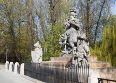 Statue of King John III Sobieski in Warsaw Stock Photos
