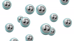 Falling note icons. Looping. Alpha channel is included. Stock Footage