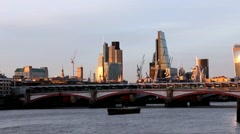 Cityscape from South Bank of the Thames.  London, England Stock Footage