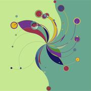 Stock Illustration of Abstract colorful pattern in retro style composed of gently curved lines
