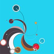 Abstract colorful pattern in retro style composed of gently curved lines - stock illustration