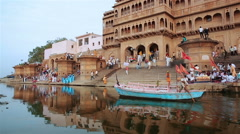 Krishna temple Kesi Ghat on the banks of the Yamuna River in town of Vrindavan. Stock Footage