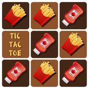Tic-Tac-Toe of Ketchup and Fried Potatoes - stock illustration
