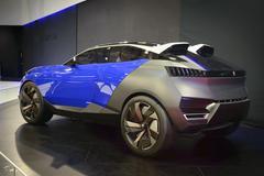 Blue Peugeot Quartz Concept Car - stock photo