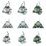 Toy robot collage in white background Stock Illustration