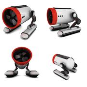 toy robot collage in white background - stock illustration