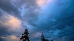 Dramatic storm clouds passing over pine trees silhouettes. 4K UHD Timelapse. Stock Footage