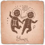 Stock Illustration of Gemini zodiac sign horoscope vintage card