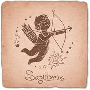Sagittarius zodiac sign horoscope vintage card - stock illustration