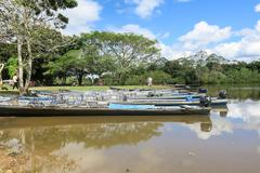 Boats in the port on Madidi River Stock Photos