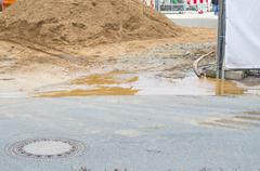 Flooding construction site - stock photo
