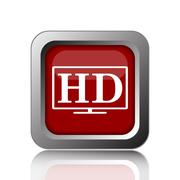 Stock Illustration of HD TV icon. Internet button on white background.