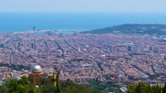Barcelona panoramic aerial view from Tibidabo mountain. Stock Footage