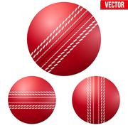 Traditional shiny red cricket ball - stock illustration