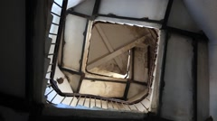 Upside view of spiral stairway case in lighthouse Stock Footage