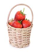 Strawberries in a basket isolated on white background Stock Photos