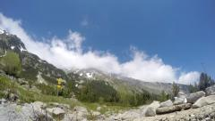 Time lapse of clouds roiling and flowing over peak Vihren on Pirin Mountain. Stock Footage