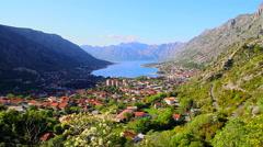 Kotor, Adriatic coastal town and Boka bay, Montenegro  Stock Footage