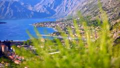 Kotor, Adriatic coastal town and Boka bay, Montenegro - stock footage
