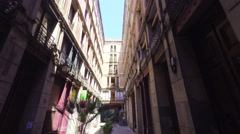 BARCELONA, walking on narrow streets of Barrio Gotico, steadicam. Stock Footage