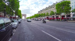 PARIS, POV, walking on Champs Elysee toward Arch of Triumph, steadicam. Stock Footage