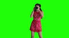 Girl photographer shooting guides Stock Footage