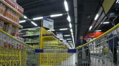 MOSCOW JUN 2015: Lenta shop. Shopping timelapse Stock Footage