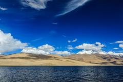 Himalayan mountain lake in Himalayas Tso Moriri (official name: Tsomoriri Wet Stock Photos