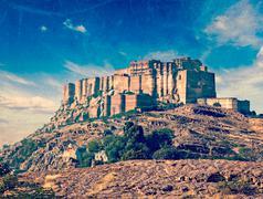 Mehrangarh Fort, Jodhpur, Rajasthan, India - stock photo