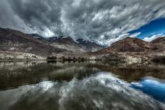 Sacred mountain lake Lohan Tso in Himalayas. Nubra valley, Ladakh, Jammu and  - stock photo