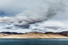 Himalayan mountain lake in Himalayas Tso Moriri (official name: Tsomoriri Wet - stock photo