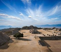 Ancient ruins on plateau Monte Alban in Mexico Stock Photos