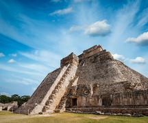 Anicent mayan pyramid in Uxmal, Mexico Stock Photos