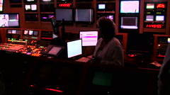 Control of live programs on the screens inside television studio Stock Footage