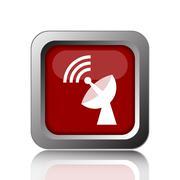 Stock Illustration of Wireless antenna icon. Internet button on white background.