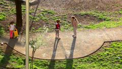 Little girls playing on the playground - stock footage