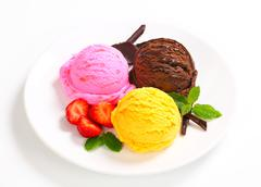Stock Photo of Three scoops of ice cream - different flavors