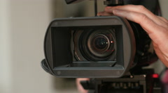 Broadcast ENG camera. Hand turning control ring. Stock Footage