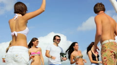 Group of young people have a party on the boat rg - stock footage