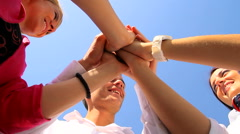 Young people raise their hands to the blue sky GR - stock footage